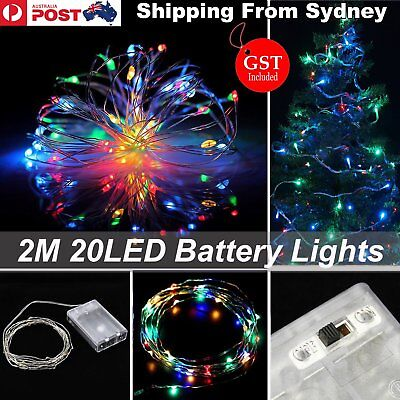 2M Battery Operated 20 LED Micro Silver Wire Colourful Fairy Lights Xmas Party