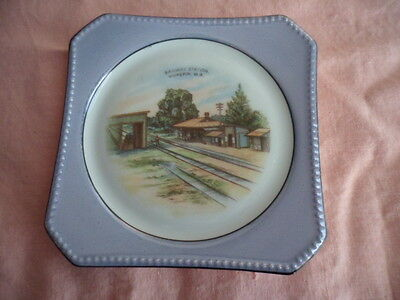 Vintage China Souvenir Plate Painting Transfer Old Wickepin Railway Station Wa