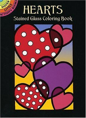 Coloring Book For Adults Hearts Stained Glass Small Page Paint Relaxing Activity
