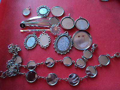 various silver cabochons settings inc. pendant, brooches, hair grip