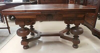 "Antique Jacobean Draw Leaf Table European Oak 1650's  Closed 53""x 36""Open 98"" L"