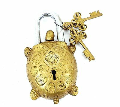 "Functional Brass Turtle Padlock 5.5""withTwo Keys lock brass padlock vintage keys"