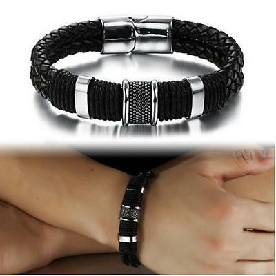 Men Retro Genuine Leather Braided Bracelet Cuff Wristband Cool Gift R
