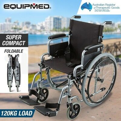 Folding Wheelchair Mobility Aid - 24 Inch Wheels, Padded Armrest, Dual Brakes