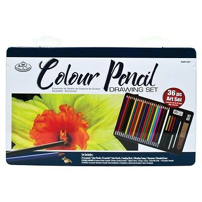 Royal Langnickel - 36 Piece Colouring Set Gift Tin - Ideal for Adult Colouring