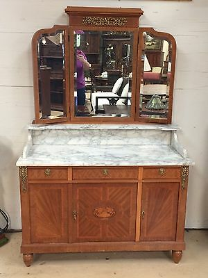 Antique French  Cabinet w 3 Way Mirror Marble Top Perfect for Sink Vanity