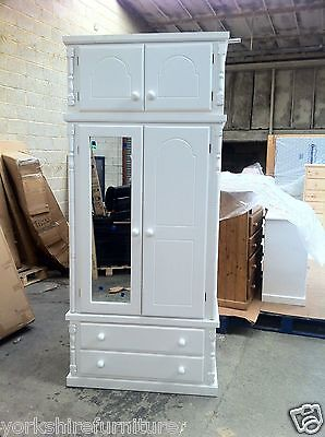 Hand Made White Shabby Chic 2 Drawer Top Box Wardrobe Not Flat Packs Assembled