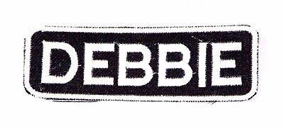 FRANKIE Black and White Name Tag Iron on Patch for Biker Vest and Jacket NB218