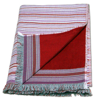 Large 100% Cotton Double Side Pareo Beach Towel Bath Sheet - Red Stripes Pattern