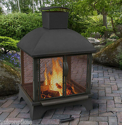 """26""""x22"""" Redford Outdoor Patio Wood Fireplace Fire Pit & Poker"""