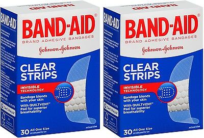 2 Pack - BAND-AID Clear Strips Adhesive Bandages All One Size 30 Each