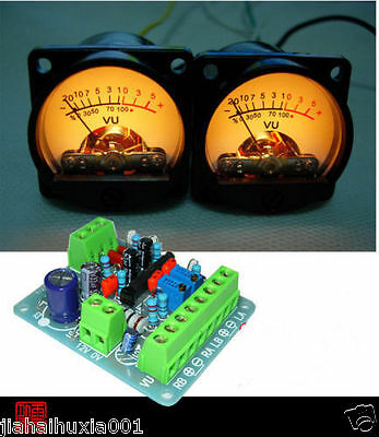 2pcs Panel VU Meter Warm Back Light Audio Level Amp + One driver board for