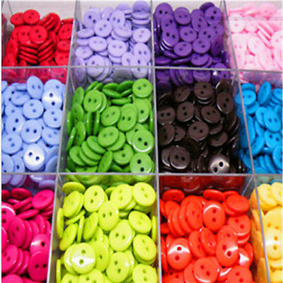 100PCs Candy Color Embellishment Scrapbooking Resin Sewing 2 Holes Round Buttons