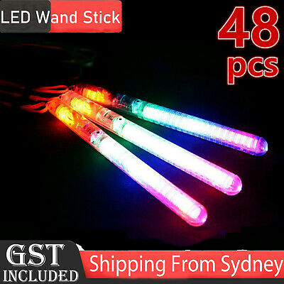 48X LED Light Flashing Wand Sticks Colour Changing Glowsticks Party Glow in dark