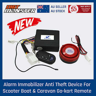 Alarm Immobilizer Anti Theft Device For Scooter Boat & Caravan go kart  Remote