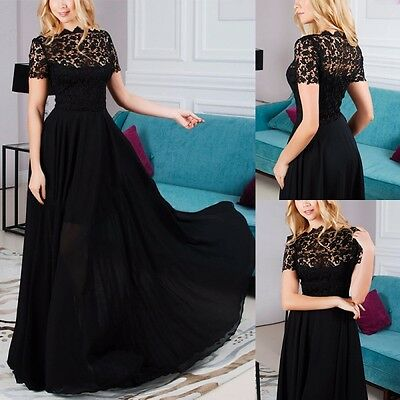 Women Lady Long Lace Floral Dress Evening Party Ball Prom Gown Formal Maxi Dress