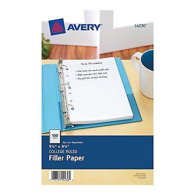 Avery Mini Filler Paper, 5.5 x 8.5 Inches, 100 Sheets (14230) 7-hole punched AOI