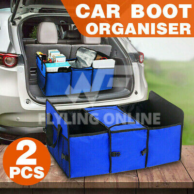NEW Blue Collapsible Foldable 2 in 1 Car Boot Organiser Shopping Tidy Heavy Duty