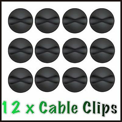 12x Black Cable Wire Cord Lead Drop Clips Usb Charger Holder Tidy Desk Organiser