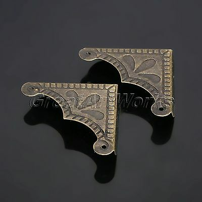 12Pcs Antique Brass Decorative Jewelry Chest Wooden Box Corner Protector Guard