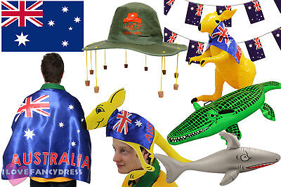 Australia Day Party Fancy Dress Hat Flag Bunting Inflatables Choose Accessory