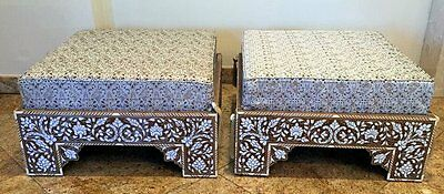 A Pair SYRIAN MOTHER-OF-PEARL INLAID HARDWOOD LOW SEATS. Damascus.