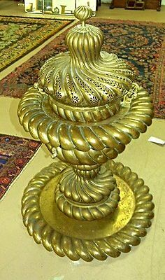 Antique Syrian, Ottoman, monumental Middle Eastern brass brazier in four parts.