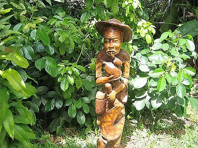 Antique Hand Carved In Wood Haitian Farmer