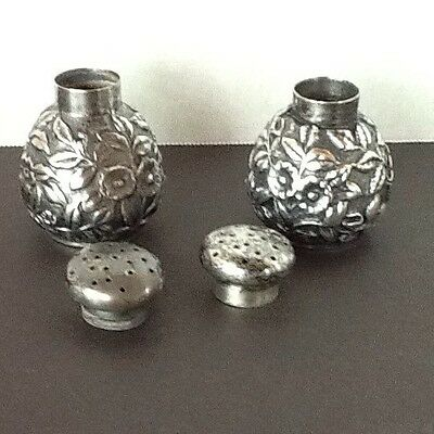 Sterling Silver J. E. Caldwell & Co. Repousse Salt & Pepper Shakers