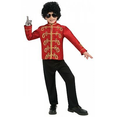 Deluxe Red Military Jacket Michael Jackson Costume Child Boys 80s Star Halloween