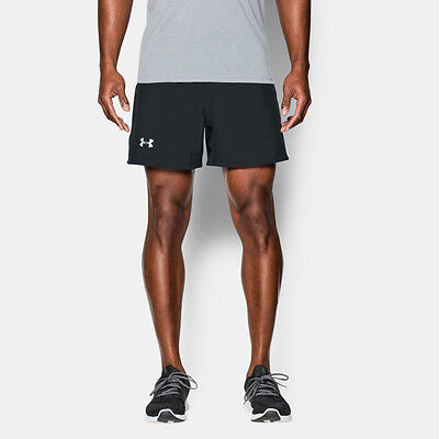 "Under Armour Launch 5"" Woven Mens Black Running Gym Shorts Pants Bottoms"