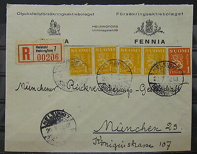 X0075 Finland 1938 Nice Registered Cover Helsinki To Germany