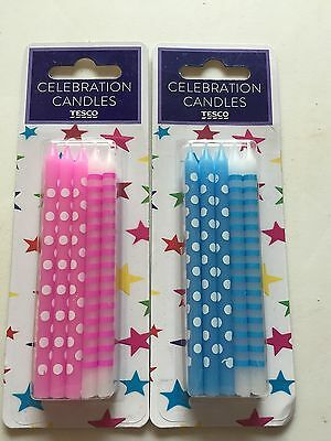 Blue Polka Dot Birthday Candles Pink-10 Spotty &Stripe Candles - New - Blue/Pink