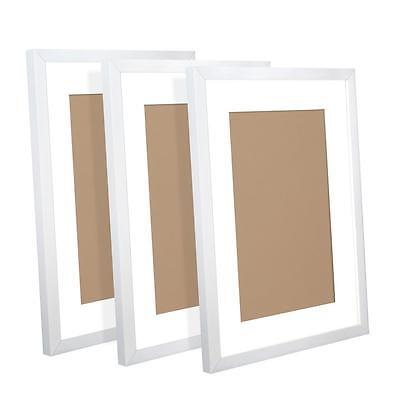 Quality 3 x A3 Size Family Friends Photo Pictures Frame Set Wall Decor -  White