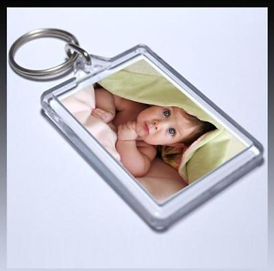 CLEAR ACRYLIC PLASTIC BLANK PHOTO KEYRINGS 45 x 35 mm INSERT