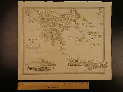1844 BEAUTIFUL Huge Color MAP of Greece Crete Acropolis of Athens Engraved ATLAS