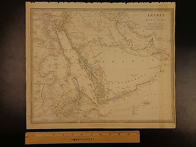 1844 BEAUTIFUL Huge Color MAP of Saudi Arabia Egypt Nubia Red Sea ATLAS