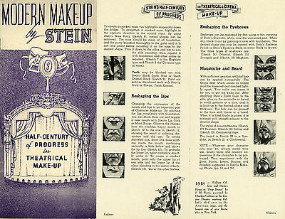 MODERN MAKE-UP by STEIN Theatrical Make-Up Brochure 1936 Character Make-up Chart