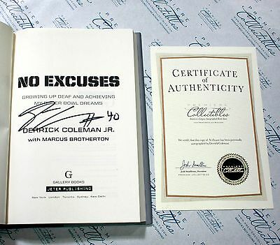 Derrick Coleman SIGNED Book No Excuses Autographed First Edition w/ COA