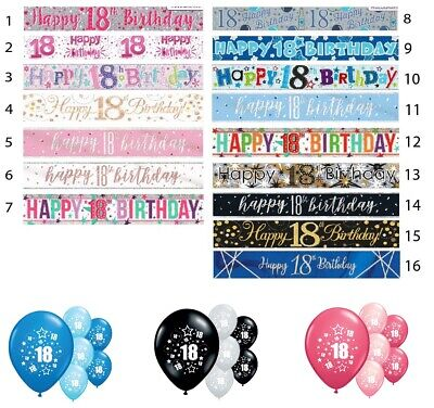 18th HAPPY BIRTHDAY BANNERS PINK BLUE BLACK PARTY DECORATIONS BOY/GIRL