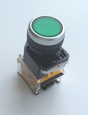 22mm Panel Mount DPST Latching Control Push Button Switch Green AC 400V 10A