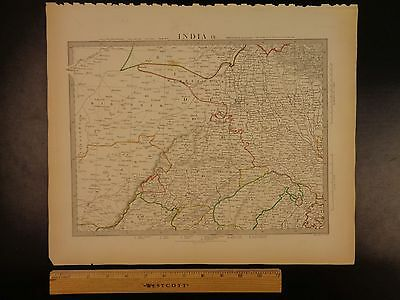 1844 BEAUTIFUL Huge Color MAP of INDIA Delhi Bundelcund Jaipur Hindustan ATLAS