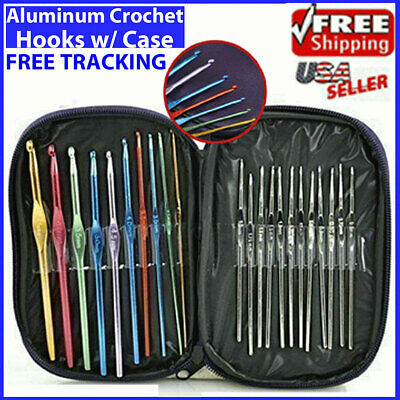 Aluminum Crochet Hooks Needles Knit 22pcs Set Multi Color Weave Craft Yarn NEW