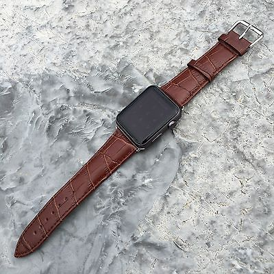 LUXURY GENUINE LEATHER Croc Crocodile Apple Watch iWatch Band Strap Brown 38mm