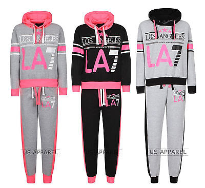 New Girls La7 Printed Jogging Suit Zip Hooded Top&gym Bottom Age 7-13 Years