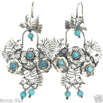 Frida Kahlo Style Taxco Mexican Sterling Silver Turquoise Deco Earrings Mexico