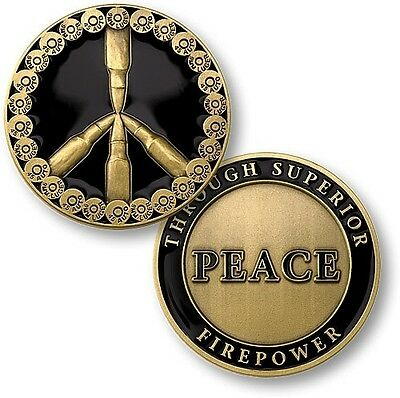United States Military Challenge Coin Peace Through Superior Firepower Symbol