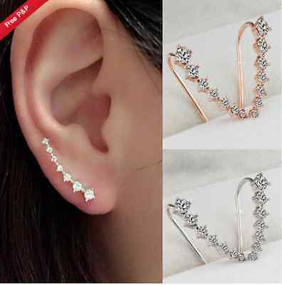 UK Rhinestone Crystal Star Ear Clip Piercing Cuff Earrings Gold/Silver Ladies