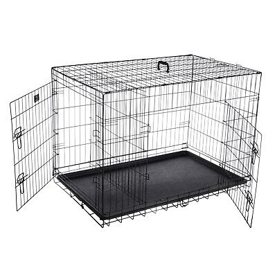 """Pet Trex 42"""" Folding Pet Crate Kennel Wire Cage for Dogs, Cats or Rabbits"""