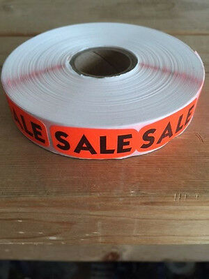 "1.25"" x .625"" SALE MERCHANDISE LABELS 1000 PER ROLL STICKER FL RED NEW"